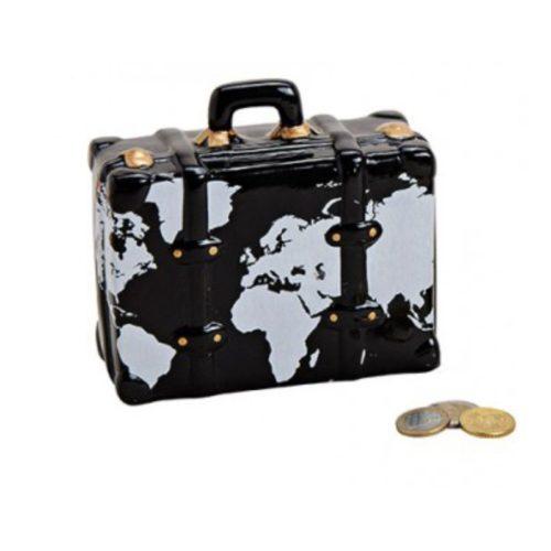 Spaarpot koffer zwart met wereldkaart