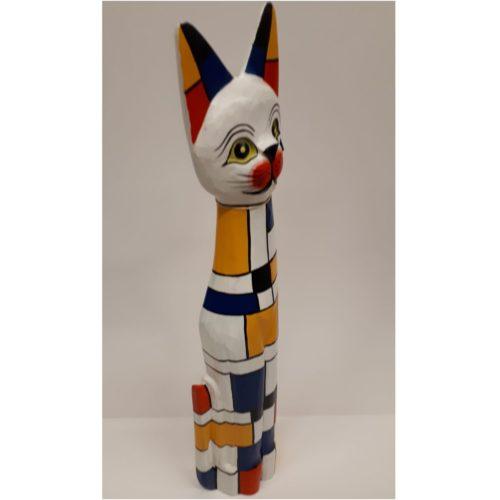 Beeld kat hout met Mondriaan design Fair trade uit Indonesië