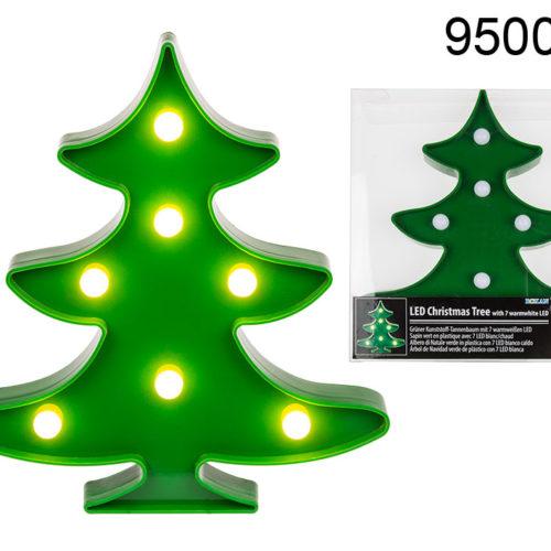 Groene kerstboom 22 cm hoog met LED verlichting