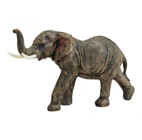 Levensecht beeldje olifant met omhooggestoken slurf