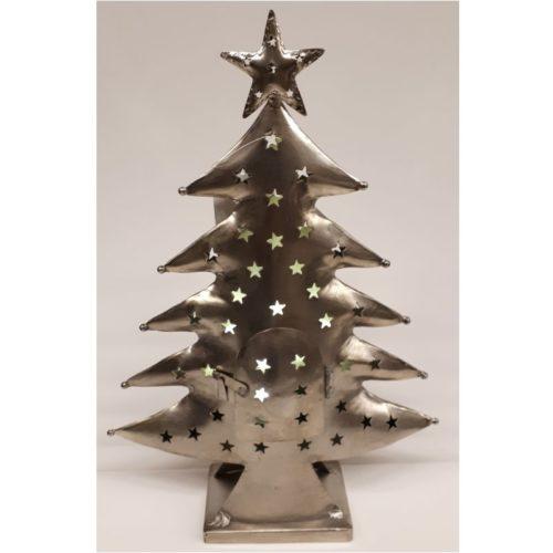 Metalen kerstboom als waxinelicht houder in zilver kleur