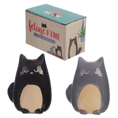 Peper- en zoutstel Feline Fine kat in grijs en zwart