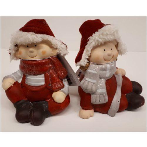Set van 2 kerstkinderen in winter kleding 13 cm