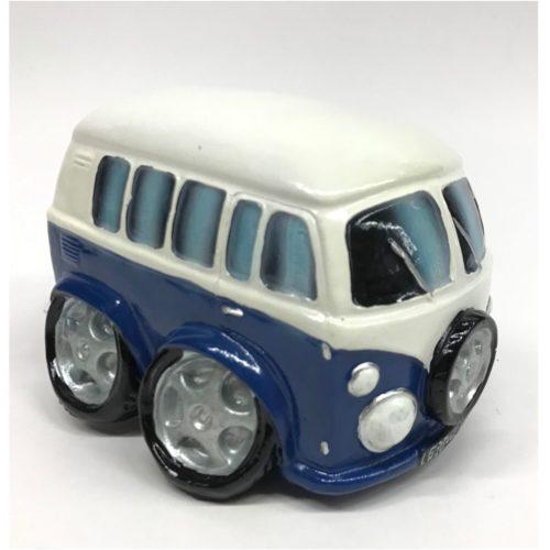 Spaarpot auto type volkswagen busje in blauw en wit