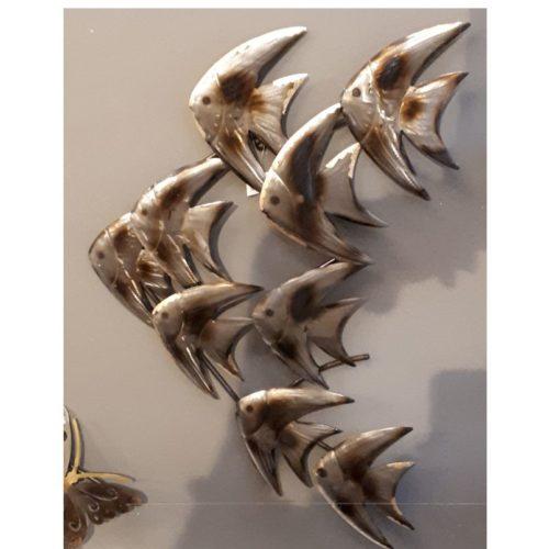 Wandbord maanvissen van metaal