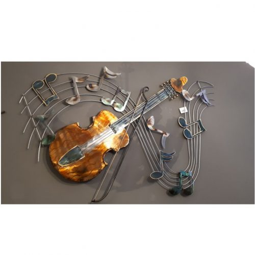 Wandbord muziek viool op notenbalk