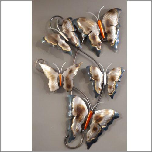 Wanddecoratie vlinders van metaal industriele look