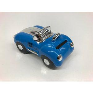 Spaarpot blauwe sportauto glimmend en gemaakt van keramiek