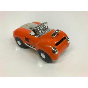 Spaarpot oranje sportauto glimmend en gemaakt van keramiek