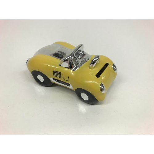 Spaarpot gele sportauto glimmend en gemaakt van keramiek