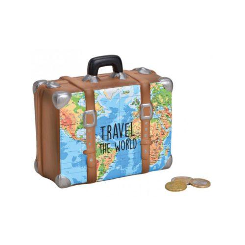 Spaarpot vakantie koffer met wereldkaart