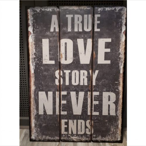 Groot tekstbord A true love story never ends -50x70cm