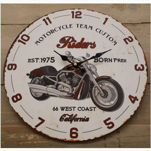 Houten klok motor riders California 33 cm
