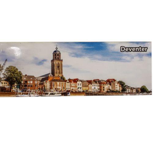 Koelkastmagneet Deventer skyline van metaal