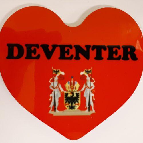 Koelkastmagneet hart rood met het wapen van Deventer