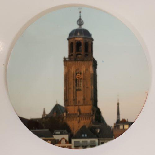 Koelkastmagneet rond met afbeelding Lebuinustoren Deventer