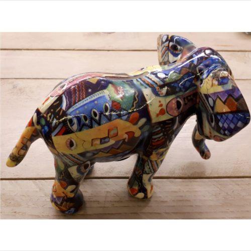 Spaarpot olifant 22cm breed in donkere bonte kleuren