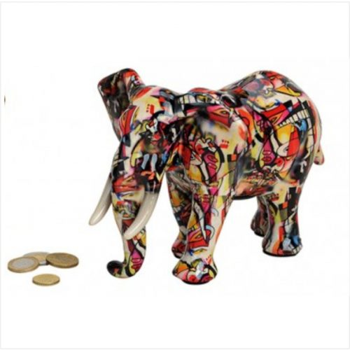 Spaarpot olifant 22cm breed in lichte bonte kleuren