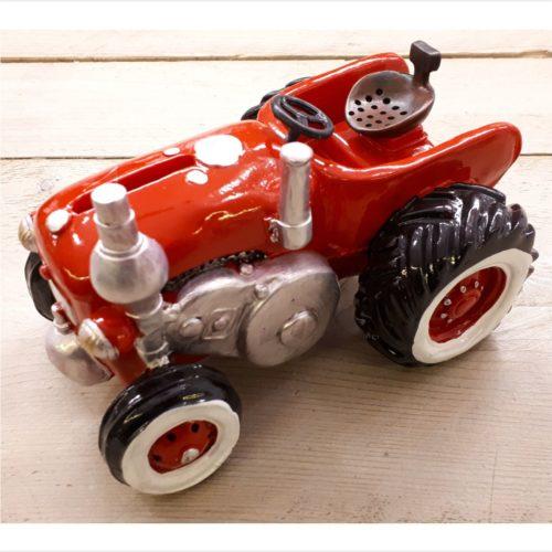 Spaarpot tractor rood erg gedetailleerd