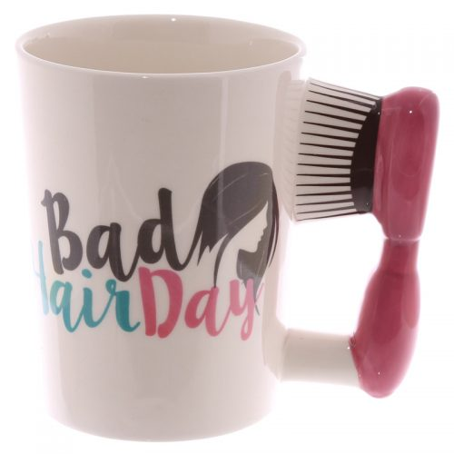 Mok met haarborstel als oor Bad hair day