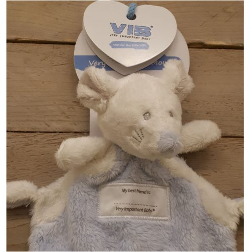 Pluche knuffel muis Doudou blauw Very Important Baby VIB