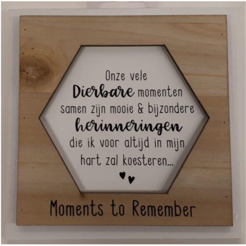 Fotolijstje met tekst Dierbare herinneringen