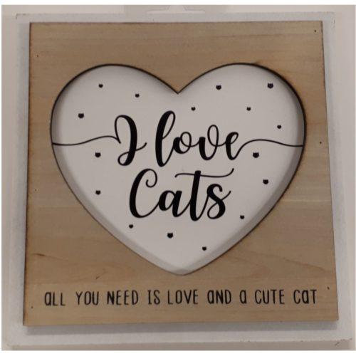 Fotolijstje met tekst I love cats