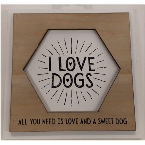Fotolijstje met tekst I love dogs