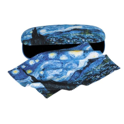 Luxe brillenkoker met poetsdoek Vincent van Gogh Starry night