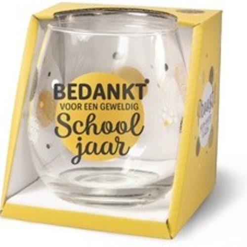 Water- wijnglas met tekst Bedankt voor een geweldig school jaar
