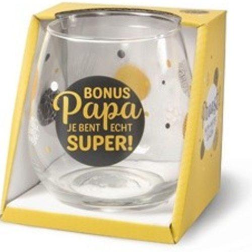 Water- wijnglas met tekst Bonus papa je bent echt super