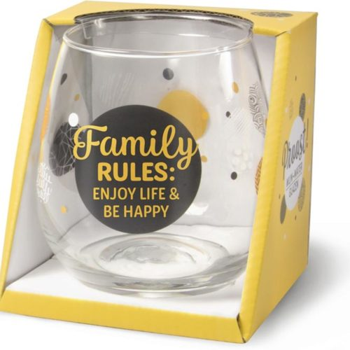 Water- wijnglas met tekst Family rules enjoy life and be happy