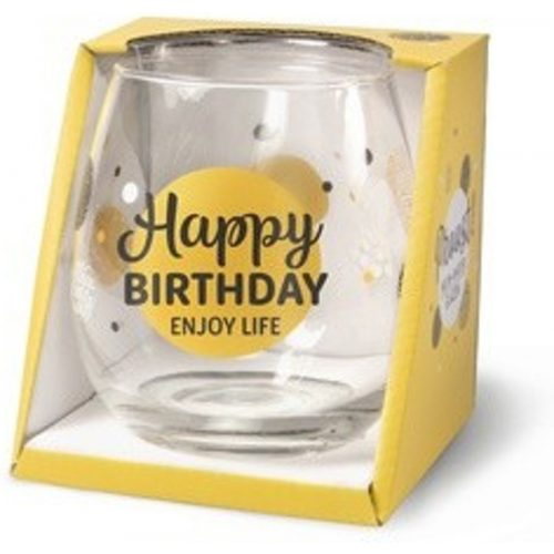 Water- wijnglas met tekst Happy birthday enjoy life
