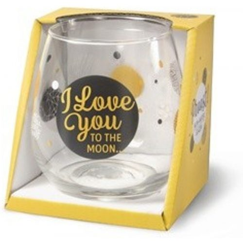 Water- wijnglas met tekst I love you to the moon