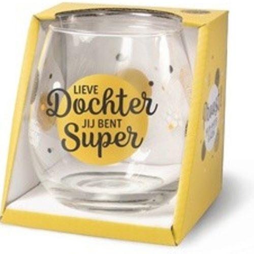 Water- wijnglas met tekst Lieve dochter jij bent super