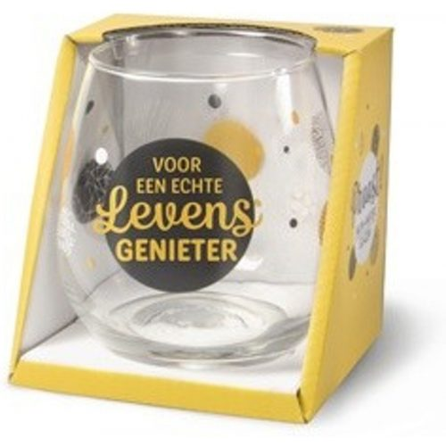 Water- wijnglas met tekst Voor een echte levensgenieter