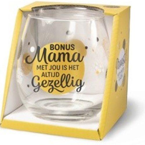 Wijn- waterglas Bonus mama met jou is het altijd gezellig