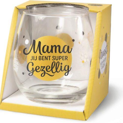 Wijn- waterglas Mama jij bent super gezellig