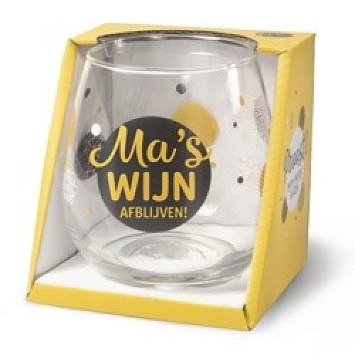 Wijnglas met tekst Ma's wijn - voor moede