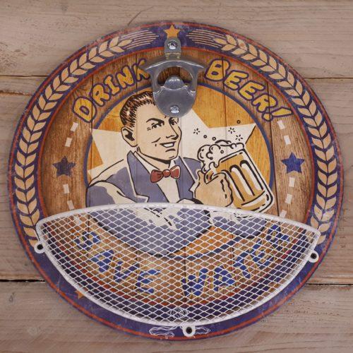 Bier flesopener hout rond met opvang mand
