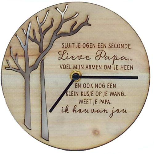 Klok van hout met Spreuk Lieve papa