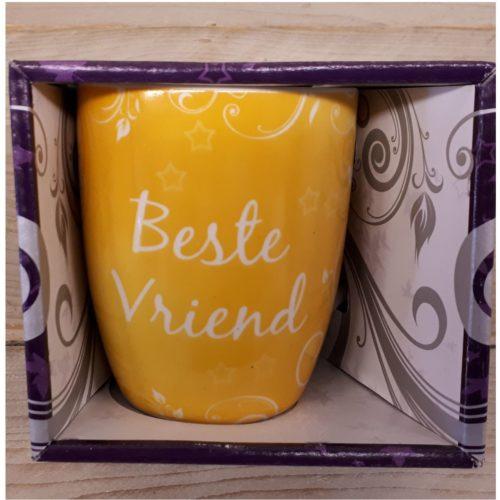 Mok beste vriend geel in nette geschenkverpakking