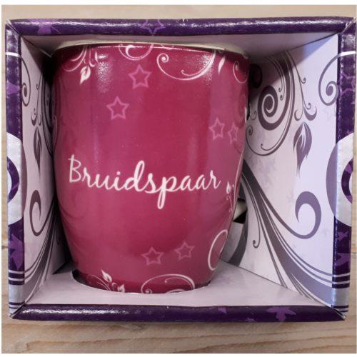 Mok bruidspaar roze in nette geschenkverpakking