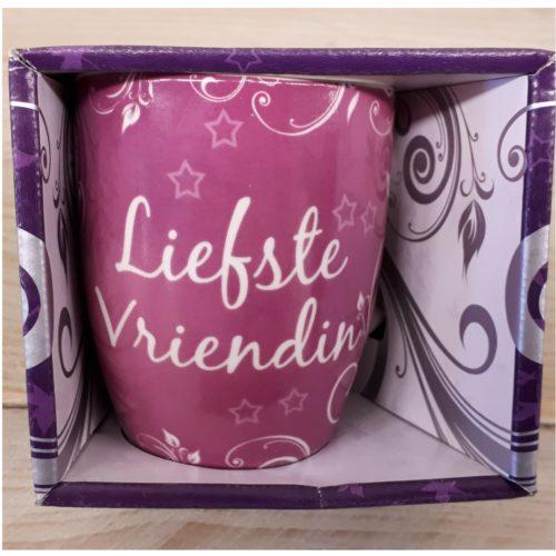 Mok liefste vriendin roze in nette geschenkverpakking