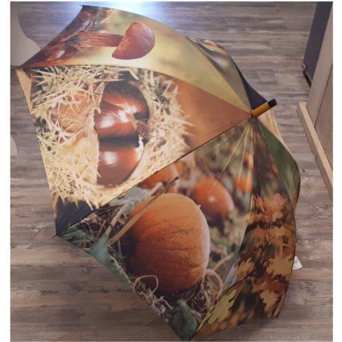 Paraplu herfst bladeren paddenstoelen en pompoen van Esschert design