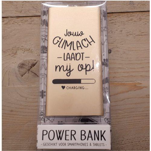 Powerbank met tekst Jouw glimlach laadt mij op