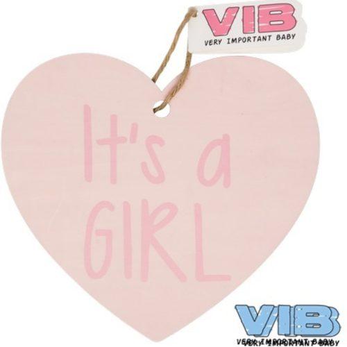 Kasthanger hart roze it's a girl van VIB