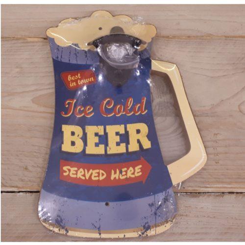 Bierpul opener Ice cold beer served here paars