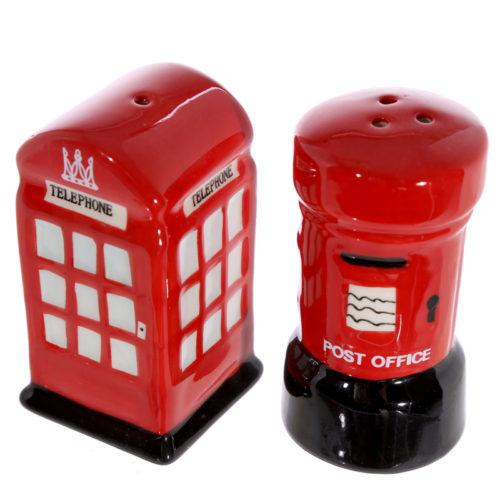 Peper en zoutstel Londen brievenbus en telefooncel rood