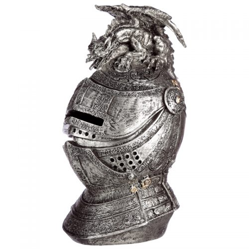 Spaarpot middeleeuwse ridder helm met draak